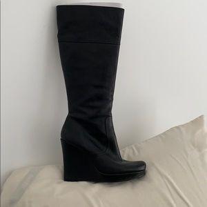 "Black knee high 9.5 (US) 5"" heel leather boots"